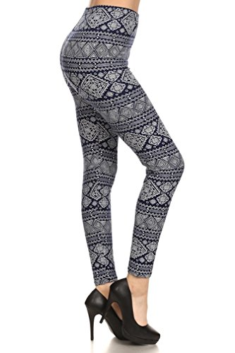 Ultra Soft Printed Leggings - Premium Quality - Regular and Plus Size - 40 New Designs by Conceited (Plus (12 - 24), White Tribal)