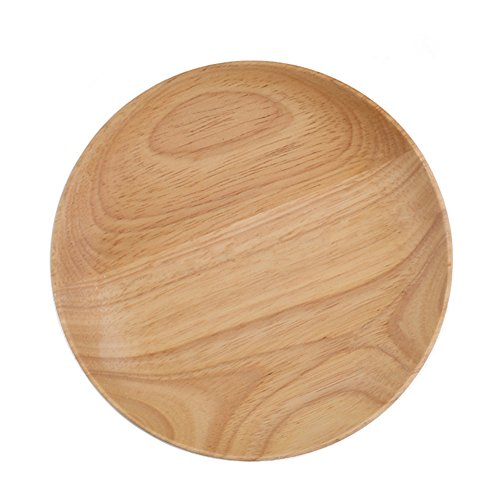 Natural Rubber Wooden Tray Food Serving Sushi Cake Dessert Snack Plate 6 inch Small Tray for Hotel or Family