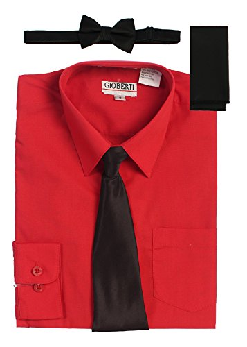 Gioberti Boy's Long Sleeve Red Dress Shirt with Black Zippered Tie, Bow Tie, and Handkerchief Set, Size 2T