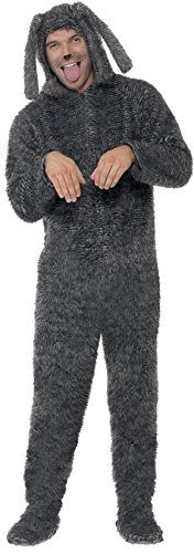 [Smiffy's Men's Fluffy Dog Costume All In One with Hood, Grey, Medium] (Human Dog Costume)
