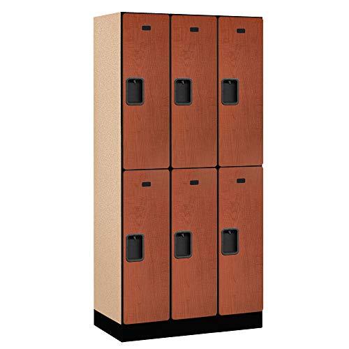Salsbury Industries 2-Tier Designer Wood Locker with Three Wide Storage Units, 6-Feet High by 18-Inch Deep, Cherry