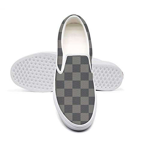Pretty Women Lazy Canvas Slip-On Shoes Grey Chequered Checkered Squares Cute Dance Loafers]()