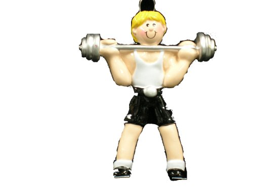 Blonde Weightlifter Christmas Ornament