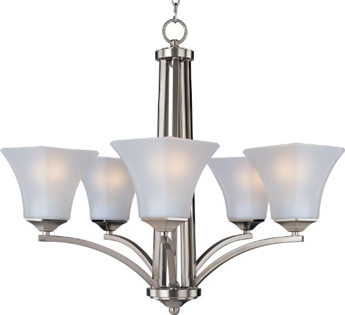 Maxim 83095FTSN Aurora EE 5-Light Chandelier, Satin Nickel Finish, Frosted Glass, GU24 Fluorescent Bulb , 40W Max., Wet Safety Rating, Standard Dimmable, Glass Shade Material, 1152 Rated Lumens (Aura Five Light Chandelier)