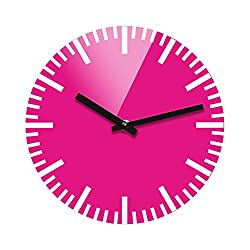 Refelx Non-Ticking Silent Acrylic Wall Clock, Small, Color, Pink