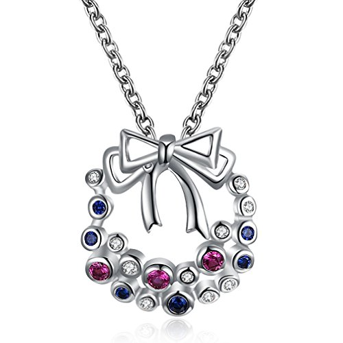 Christmas Gifts for Girls Women's 18K Gold Plated Cute Shinning Colorful CZ Christmas Bow Pendant Necklaces 45+5CM - - Costume Ideas Mean Girls