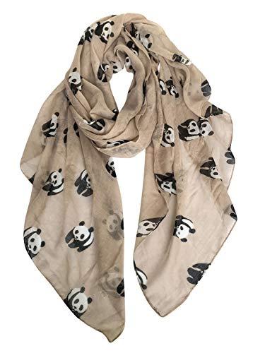 GERINLY Animal Print Scarves: Cute Pandas Pattern Women Wrap Scarf (Khaki)