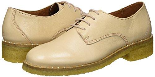 Hueso Derby Cordones De Flat Mujer Shoe Zapatos velvet Para Biz Nude Laze XSqYz
