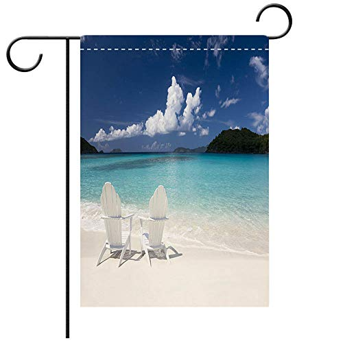 BEICICI Artistically Designed Yard Flags, Double Sided Adirondack Chairs on The Beach Decorative Deck, Patio, Porch, Balcony Backyard, Garden or Lawn ()