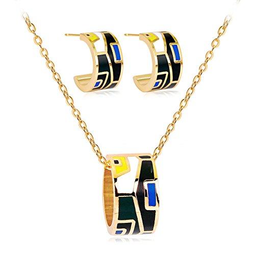 (Slendima Colorful Ring Shape Jewelry Women Set Pendant Necklace Semicircle Ear Studs Gift)