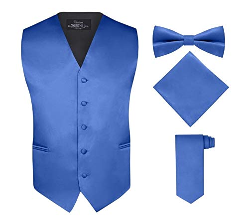 Mens Tux Vest - S.H. Churchill & Co. Men's 4 Piece Vest Set, with Bow Tie, Neck Tie & Pocket Hankie - Royal Blue, L