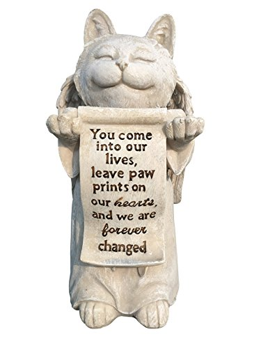 Cat Angel Memorial Marker - Devotional Remembrance Stone (Stone) (Angel Tombstone)