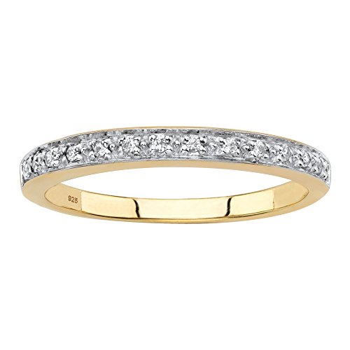 18K Yellow Gold over Sterling Silver Diamond Accent Single Row Ring Size 6