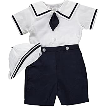 Vintage Style Children's Clothing: Girls, Boys, Baby, Toddler Nautical Bobbie Suit and Hat Easter Spring Outfit $47.01 AT vintagedancer.com