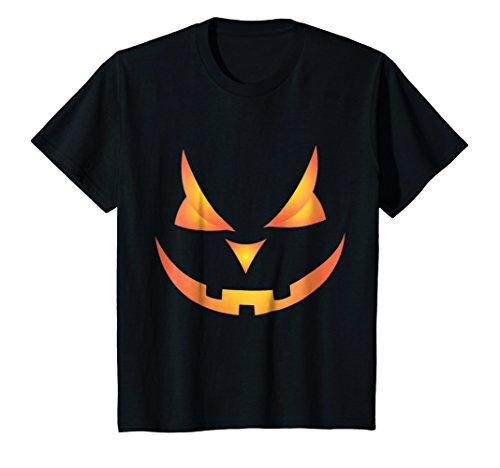 Kids Scary Pumpkin Face Halloween Costume T-Shirt Orange Glow 10 Black