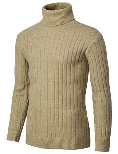 Cables Thermal Beige - H2H Mens Slim Fit Turtleneck Pullover Wool Sweaters Basic Ribbed Thermal Beige US M/Asia M (KMOSWL251)