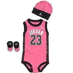 Jordan Baby Clothes 3 Piece Basketball Jersey Set (0-6 months) Pink, 0-6 Months