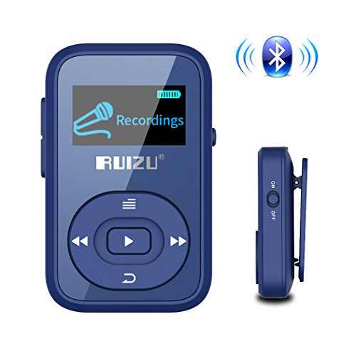Mp3 Player for Kids with Bluetooth, Ruizu Portable Clip Music Players with FM Radio Christmas 8gb Blue
