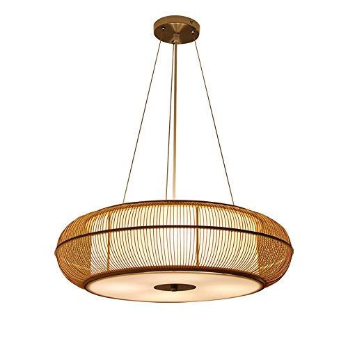 White Woven Bamboo - Japanese Style Hand-woven Bamboo Chandelier, Creative Hollow Chandeliers, PVC Lampshades, Living Room Balcony Bedroom Study Aisle Hallway Chandeliers, Bar Club Cafe Chandeliers, E27