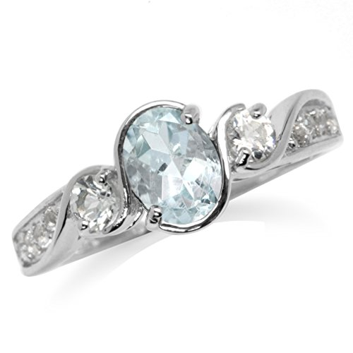 Genuine Blue Aquamarine & White Topaz Gold Plated 925 Sterling Silver Engagement Ring Size 7 Aquamarine Blue Topaz Ring