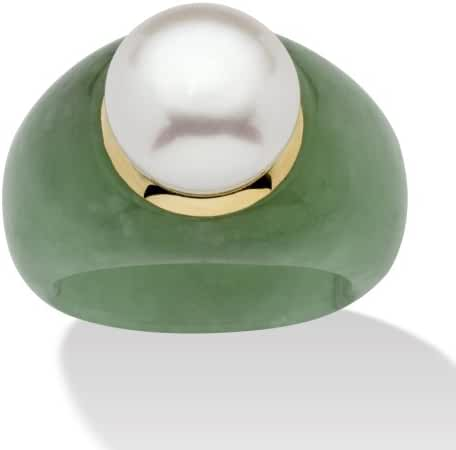 10K Yellow Gold Round Cultured Freshwater Pearl (11mm) and Genuine Green Jade Ring