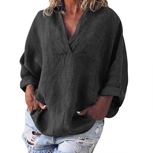 Aniywn Women V-Neck Linen Blouse T-Shirt Plus Size Loose Solid Casual Simple Pullover Top Black