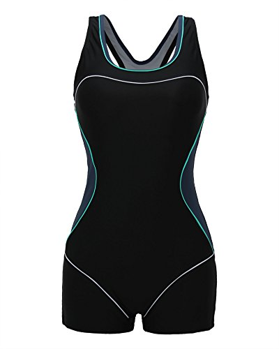 ReliBeauty Women's Boy-Leg One Piece Swimsuit, Black-2, S 2-4 4 One Piece Swimsuits