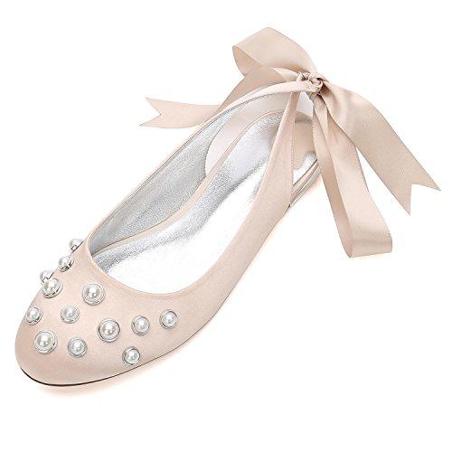 Perlas 5049 Talones Mujeres Zapatos Champagne Apliques L 24 Encaje Las De Boda Bombas Punta Cinta Almendra La yc q4OCg