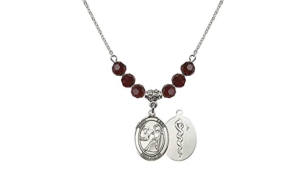 18-Inch Rhodium Plated Necklace with 6mm Emerald Birthstone Beads and Sterling Silver Saint Wolfgang Charm.