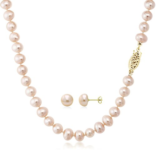 Gem Stone King Pink Cultured Freshwater Pearl Necklace and Earring Set In 14K Yellow Gold