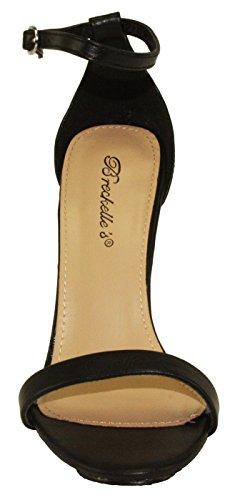Breckelles Mujeres Sydney-46 Stiletto Correa Para El Tobillo Sandalias De Vestir De Tacón Alto Negro