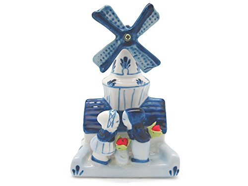 Decorative Windmill & Kissing Couple - Delft Blue Windmill Shopping Results