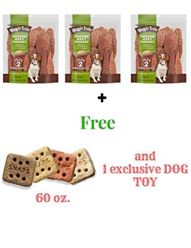 Waggin' Train Chicken Dog Treats (Jerky Tender, 18 oz(3 Pack) + freebies)
