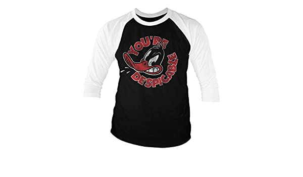 You/'re Despicable Baseball 3//4 Sleeve T-Shirt Officially Licensed Daffy Duck