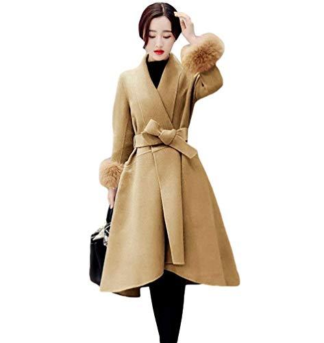 Largo Retro Khaki Exquisito Elegantes Sintética Fashion Parkas Casuales Otoño Slim De Mujer Transición Termica Invierno Abrigos Manga Outerwear Fit Abrigo Piel wSXqpP