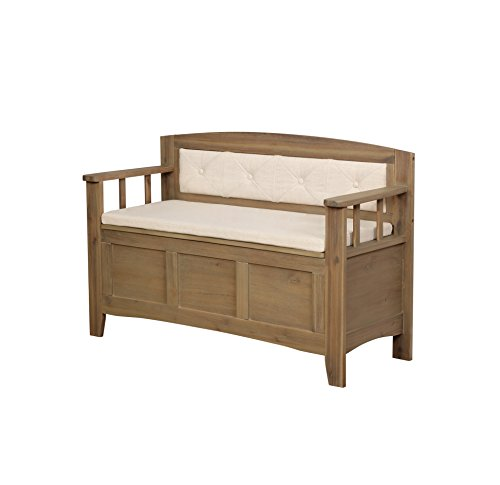 Landry Padded Bench in Washed Brown and Natural