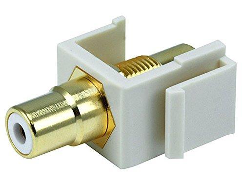 Monoprice 106556 Keystone Jack-Modular RCA with White Center, Ivory