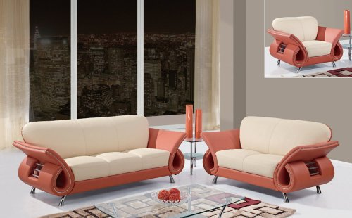 Global Furniture Usa Charles 3 Piece Leather Living Room Set In Cappuccino & Mahogany