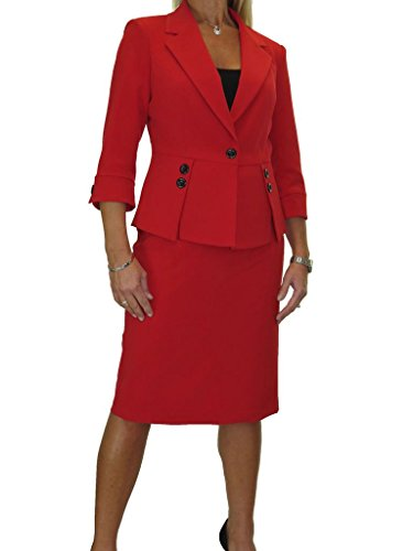 Womens Designer Business Suits (Fully Lined Washable Designer Look Business Office Skirt Suit Red 4-16 (8))