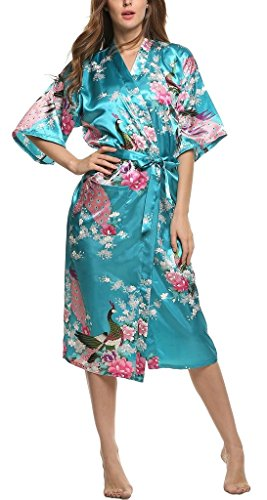 Damen-Morgenmantel-Kimono-Robe-Bademantel-Nachtwsche-Lange-Stil
