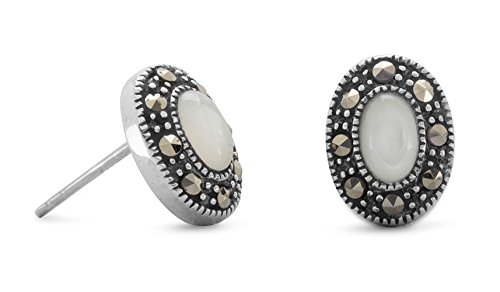 Sterling Silver Post Stud Earrings, Marcasite, 3.5x5.5mm Oval Shell Center, 3/8 inch