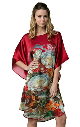 Grace Silk 100% Silk Nightgown, Crackled Floral Painting, ()