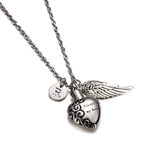 KnSam Jewelry Always in My Heart Stainless Steel Urn Necklace with Pendant Heart Keepsake, Angel Wing & 26 Letters Ash Pendant Memorial Necklace- R ()