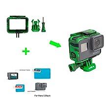 ADIKA (Green Camo) The Frame Mount Housing Skeleton Case for Gopro Hero5 Black + for Gopro hero 5 screen protector + for Gopro hero 5 lens protector film AAFRM-001 for The Frame (Hero5 Black
