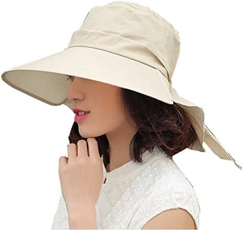 Elonglin レディース つば広 帽子 日よけ UVカット ネックカバー リボン 可愛い 手軽く収納 紫外線対策 サイズ調節 アウトドア 旅行 女優帽 春 夏