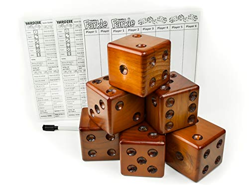 Yardzee Yard Dice Yard Farkle Dice Package, Large Wood Dice with Laminated Score Cards and Yard Farkle score cards, Yard games, Out door games, Wedding Games, Camping Games by Yardzee (Image #5)