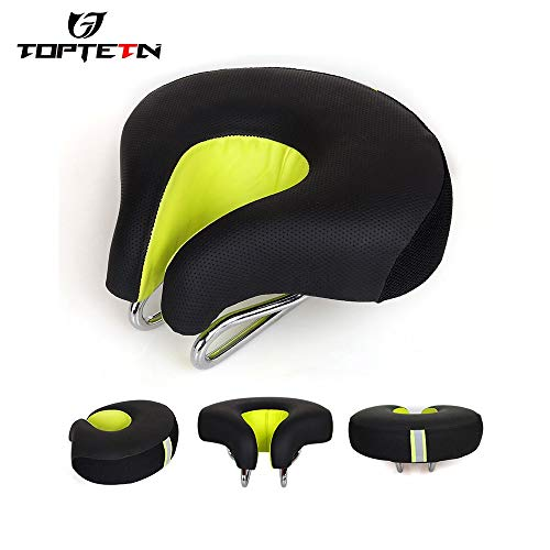 Enchante Jerry Bicycle Saddle - Ergonomics Design Bike Saddle Soft Sponge PU Leather Cover Breathable Comfortable Bicycle Seat with Central Relief Zone 1 PCs