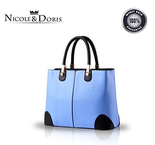 NICOLE&DORIS Women Top handle bag square stitching hand bag Black Azure