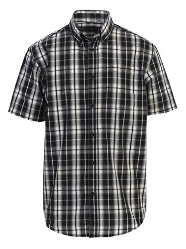 - Gioberti Men's Plaid Short Sleeve Shirt, Black/White, X Large
