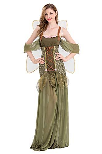 Mordarli Women's Halloween Costume Forest Green Elf Flower Fairy Princess Dress -